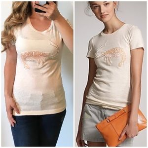J.CREW Bejeweled Crawfish Burnout Tee Medium